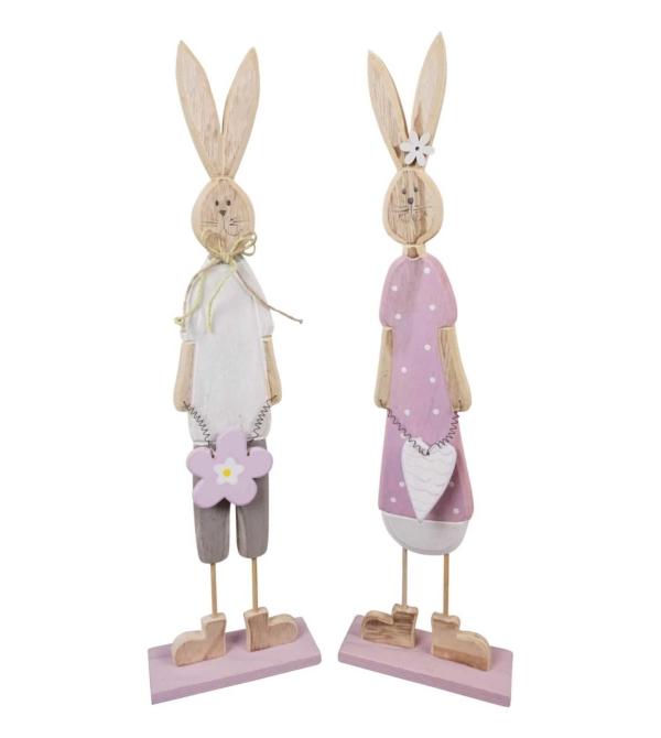 Набор декоративных деревянных кроликов