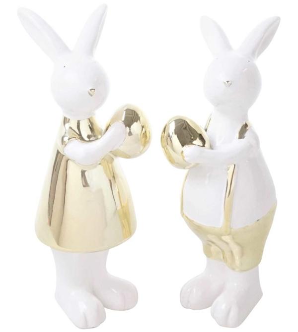 Набор статуэток Пасхальные кролики белые
