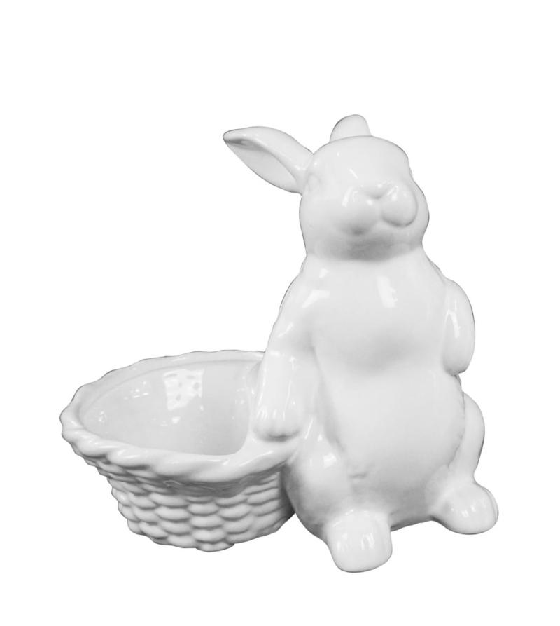 Кролик декоративный белый с корзиной