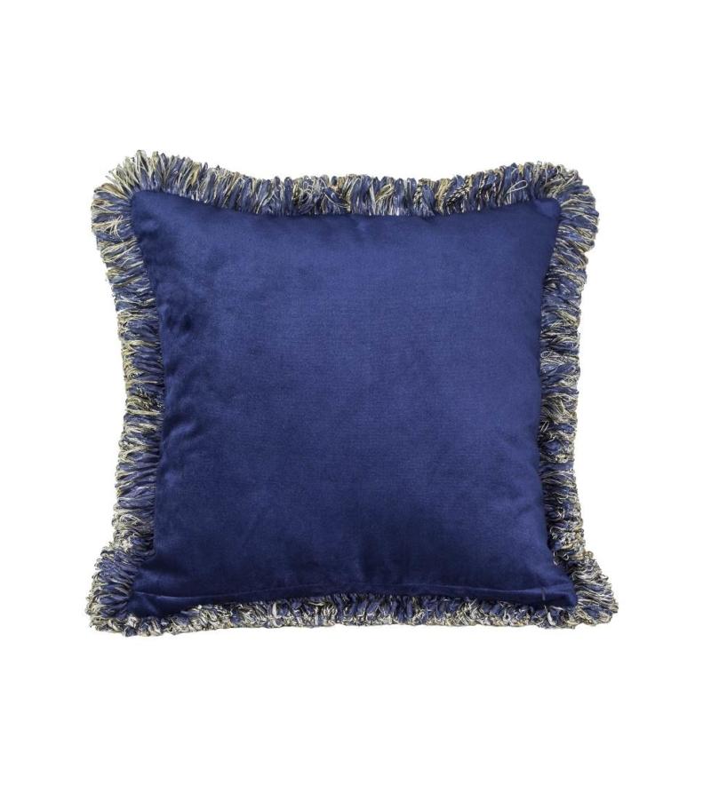 Подушка темно-синяя с бахромой
