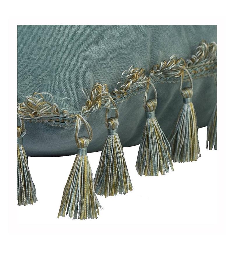 Подушка бирюзовая с бахромой