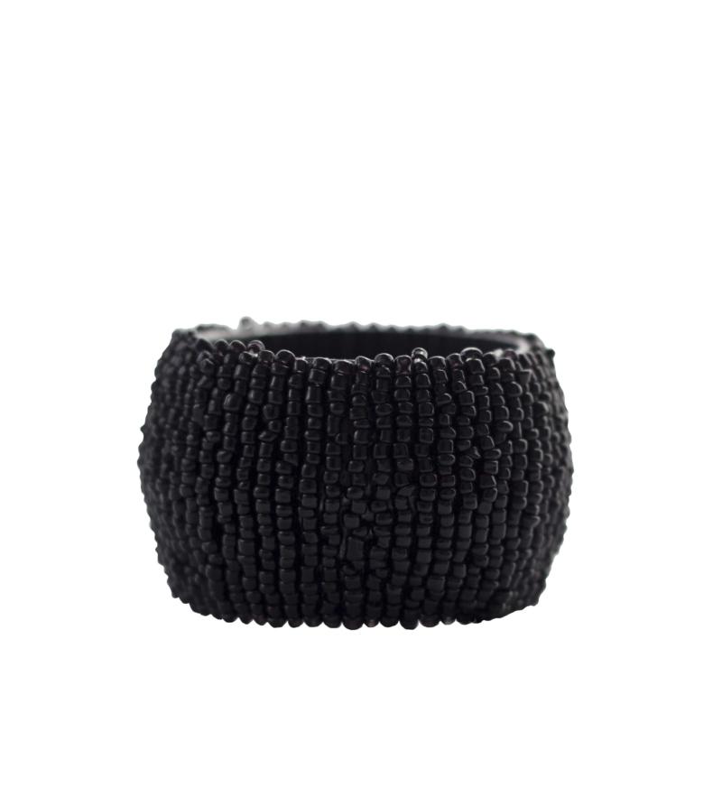 Набор колец для салфеток из бисера черного цвета 4 шт.