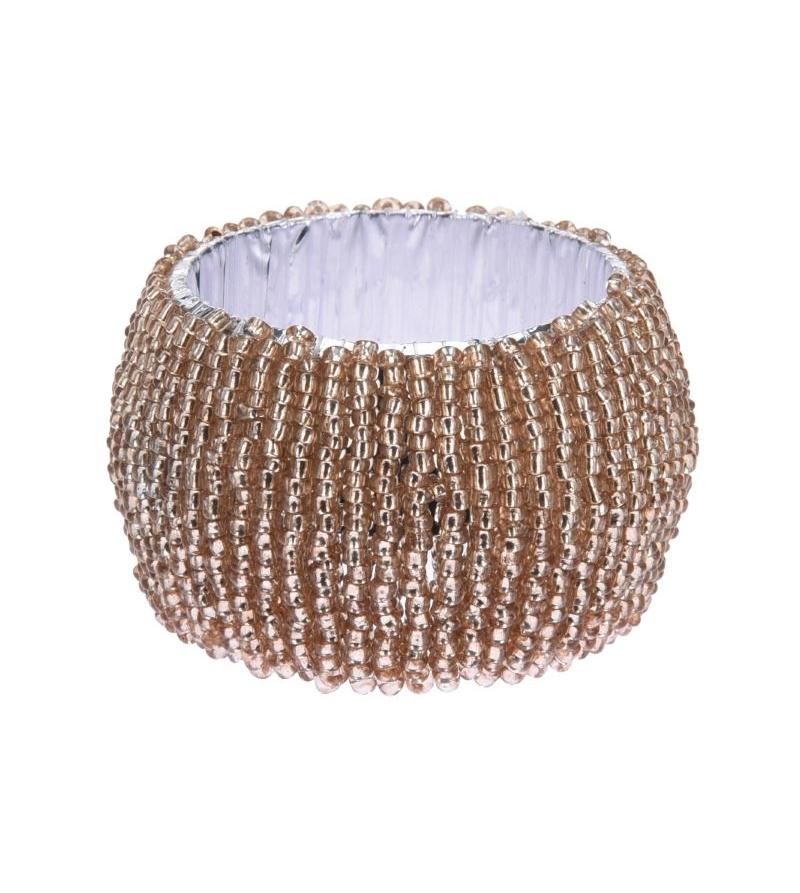 Набор Колец для салфеток из бисера золотого цвета 4 шт.