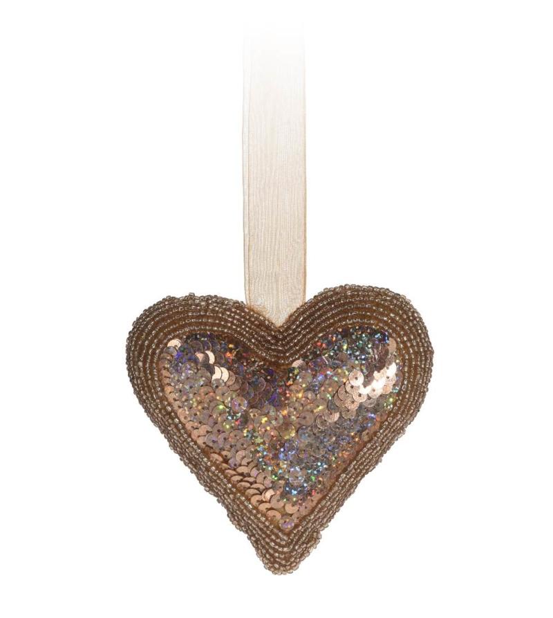 Подвесная декорация в форме сердца, золото 13см